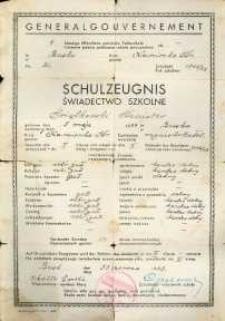7-klassige öffentliche polonische Volksschule : schulzeugnis = 7-klasowa polska publiczna szkoła powszechna : świadectwo szkolne Stanisława Świątkowskiego.