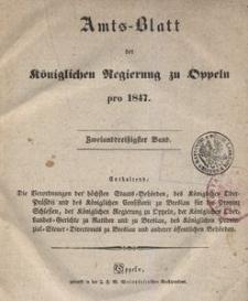 Amts-Blatt der Königlichen Regierung zu Oppeln pro 1847, 32 Bd.