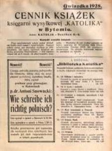 """Cennik książek księgarni wysyłkowej """"Katolika"""" w Bytomiu. Gwiazdka 1928"""