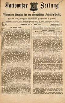 Kattowitzer Zeitung, 1875, Jg. 7, nr44