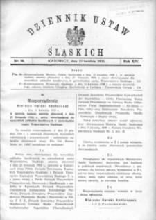Dziennik Ustaw Śląskich, 27.04.1935, R. 14, nr 10