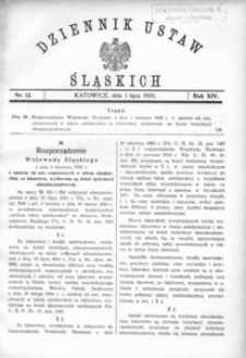 Dziennik Ustaw Śląskich, 01.07.1935, R. 14, nr 13