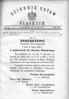 Dziennik Ustaw Śląskich, 15.07.1935, R. 14, nr 15