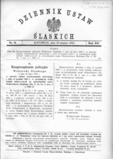 Dziennik Ustaw Śląskich, 10.08.1935, R. 14, nr 16