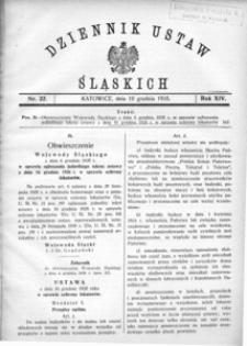 Dziennik Ustaw Śląskich, 10.12.1935, R. 14, nr 22