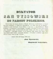 Dyktator Jan Tyssowski do Narodu Polskiego