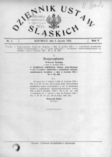 Dziennik Ustaw Śląskich, 08.01.1926, R. 5, nr 1