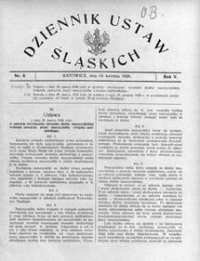 Dziennik Ustaw Śląskich, 10.04.1926, R. 5, nr 8