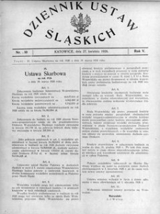 Dziennik Ustaw Śląskich, 27.04.1926, R. 5, nr 10