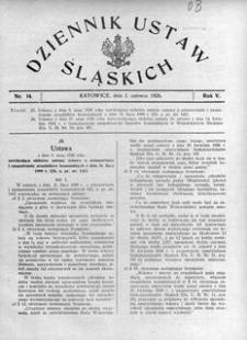 Dziennik Ustaw Śląskich, 01.06.1926, R. 5, nr 14