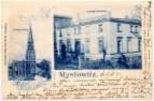 """Myslowitz. Evangel. Kirche. Evangel. Pfarrhaus."""