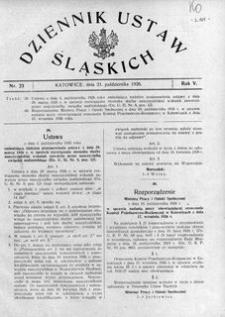 Dziennik Ustaw Śląskich, 21.10.1926, R. 5, nr 23