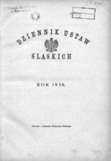 Skorowidz Alfabetyczny do Dziennika Ustaw Śląskich. Rok 1936 (Nr 1-24)
