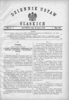 Dziennik Ustaw Śląskich, 20.03.1936, R. 15, nr 7