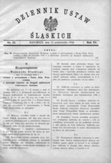 Dziennik Ustaw Śląskich, 15.10.1936, R. 15, nr 22