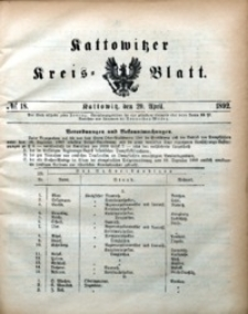 Kattowitzer Kreisblatt, 1892, nr18