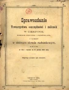 Sprawozdanie Towarzystwa Oszczędności i Zaliczek w Cieszynie, Stowarzyszenia Zarejestrowanego z Nieograniczoną Poręką, 1880