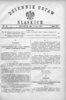 Dziennik Ustaw Śląskich, 17.07.1937, R. 16, nr 14