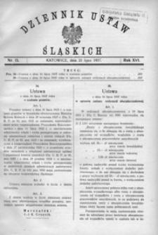 Dziennik Ustaw Śląskich, 21.07.1937, R. 16, nr 15