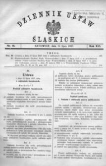 Dziennik Ustaw Śląskich, 31.07.1937, R. 16, nr 16