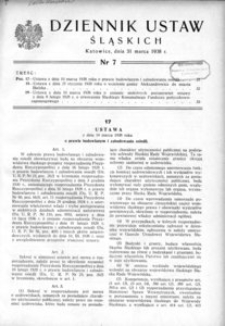 Dziennik Ustaw Śląskich, 31.03.1938, [R. 17], nr 7