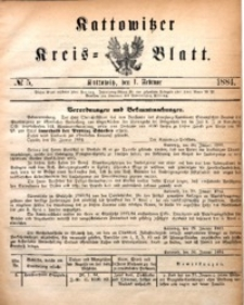Kattowitzer Kreisblatt, 1884, nr5