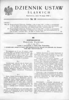 Dziennik Ustaw Śląskich, 14.05.1938, [R. 17], nr 10
