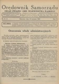 Orędownik Samorządu. Organ Związku Gmin Województwa Śląskiego, 1933, R. 9, nr 5/6