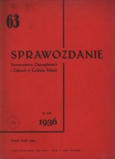 Sprawozdanie Towarzystwa Oszczędności i Zaliczek, Stowarzyszenia Zarejestrowanego z Nieograniczoną Poręką w Českém Těšíně, 1936