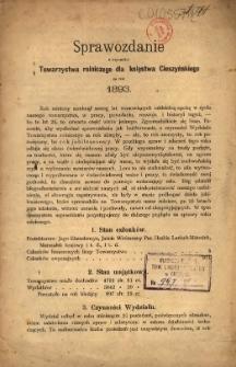 Sprawozdanie z Czynności Towarzystwa Rolniczego dla Księstwa Cieszyńskiego za Rok 1893