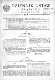 Dziennik Ustaw Śląskich, 15.03.1939, [R. 18], nr 6
