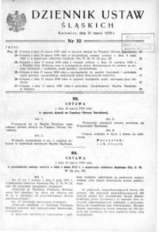 Dziennik Ustaw Śląskich, 31.03.1939, [R. 18], nr 10