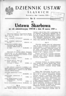 Dziennik Ustaw Śląskich, 11.04.1939, [R. 18], nr 11