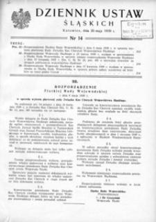 Dziennik Ustaw Śląskich, 20.05.1939, [R. 18], nr 14