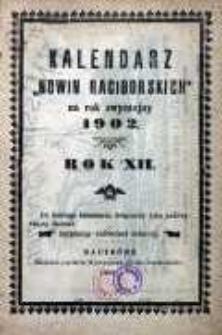 """Kalendarz """"Nowin Raciborskich"""" na rok zwyczajny 1902, R. 12"""