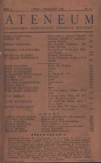 Ateneum. Czasopismo poświęcone sprawom kultury, 1938, R. 1, nr 4-5