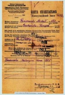Karta ewakuacyjna Michała Rzeszowskiego z 1.01.1946 r.