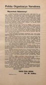 Obywatele Robotnicy! Polska Organizacja Narodowa. Październik 1914 r.