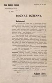 Rozkaz Dzienny. Polska Organizacja Wojskowa. Komenda Naczelna. L. 1610. Warszawa, 29. XI 1918
