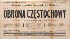 Obrona Częstochowy. Obraz historyczny z XVII wieku w 8 odsłonach napisał Juliusz Mors z Poradowa. Afisz teatralny