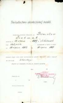 Świadectwo ukończenia nauki : Bronisław Siudmiak, 1927 r.