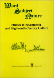 Word, subject, nature : studies in seventeenth- and eighteenth-century culture