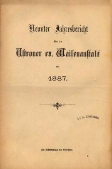 Jahresbericht über die Ustroner ev. Waisenanstalt pro 1887
