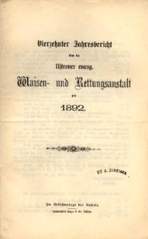 Jahresbericht über die Ustroner evang. Waisen- und Rettungsanstalt pro 1892