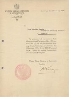 Ludwik Czech - dyplom nadania odznaczenia