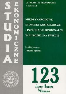 Międzynarodowe stosunki gospodarcze. Integracja regionalna w Europie i na świecie