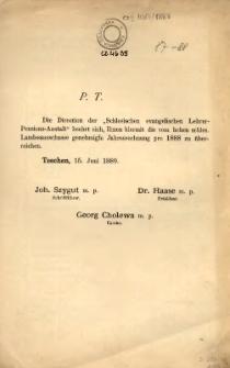 """[Jahresrechnung der """"Schlesische Evangelische Lehrer-Pension-Anstalt"""" in Teschen], 1888"""