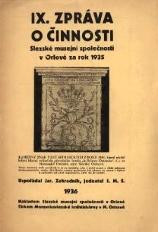 Zpráva o činnosti Slezské musejní společnosti v Orlové, 1935