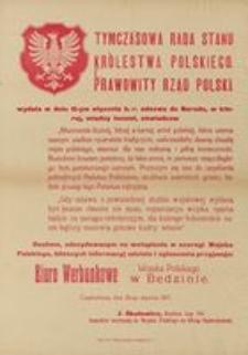 Tymczasowa Rada Stanu Królestwa Polskiego. Częstochowa, dnia 20 stycznia 1917