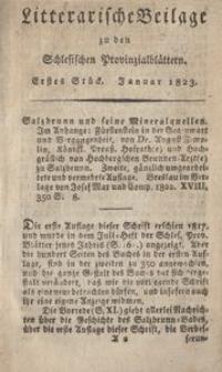 Litterarische Beilage zu den Schlesischen Provinzialblattern, 1823, 1. Stück.